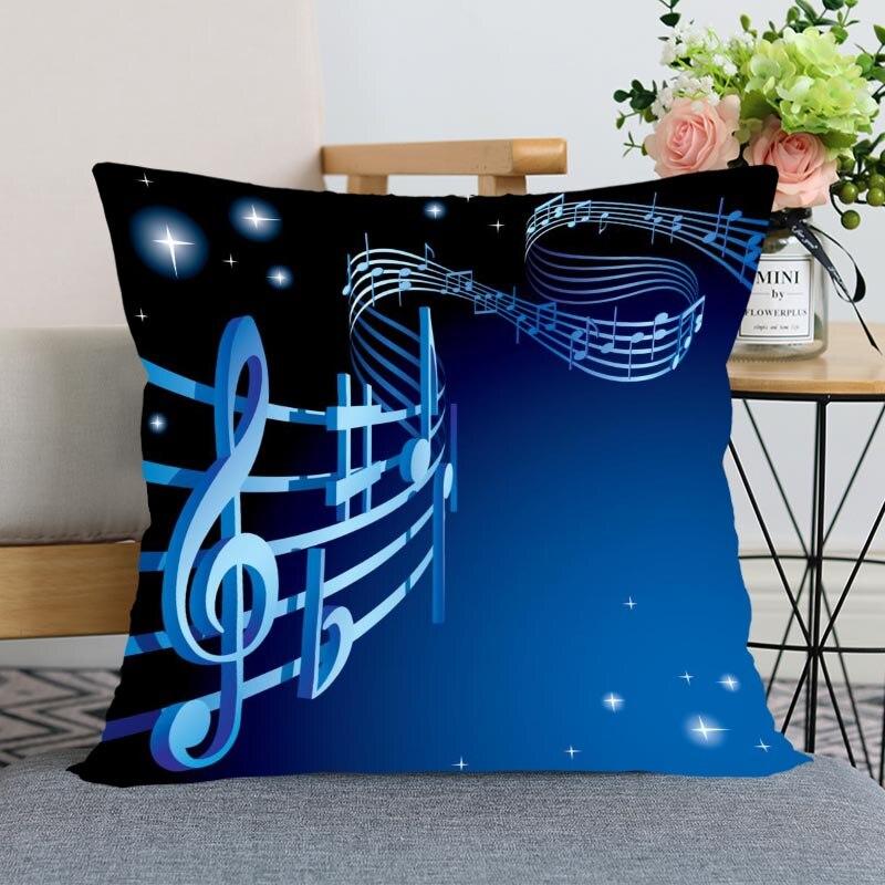Nueva funda de almohada musical para dormitorio decorativo regalo casero funda de almohada de forma cuadrada con cremallera fundas de almohada 40x40,45x45 satén suave