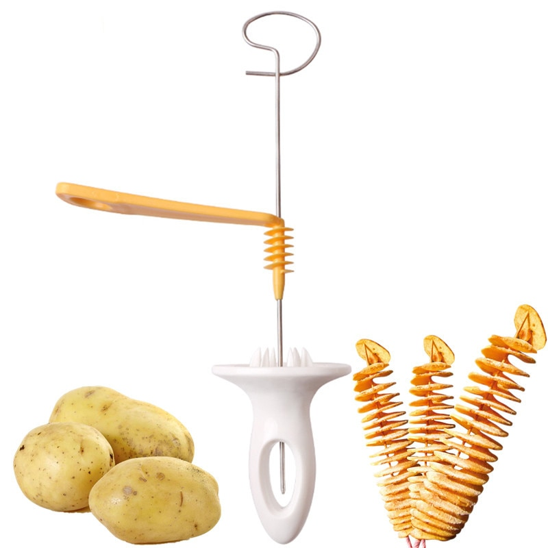 3 string Rotate Potato Slicer Stainless Steel +Plastic Twisted Potato Slice Cutter Spiral DIY Manual Creative Kitchen Gadgets creative plastic bananas slicer cutter yellow