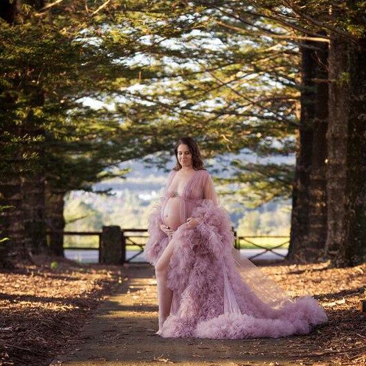 Vestido de novia para maternidad, color rosa de tul transparente, vestido de maternidad de tul esponjoso, Vestido de manga larga, vestido de tul para mujeres, 2020