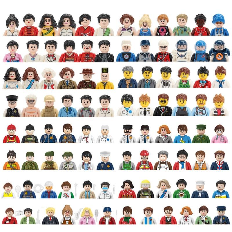 Детские игрушки, Набор фигурок семьи, строительные блоки, городской рабочий, пожарный, доктор, куклы, кирпичи, обучающие игрушки для детей, п...