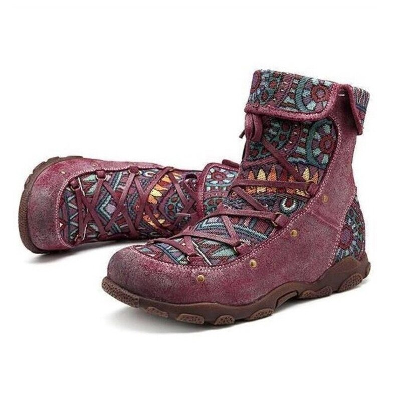 Autumn Winter Women Boots Retro Warm Leisure Embroidery Stitching Ankle Boots Pattern Comfortable Wo