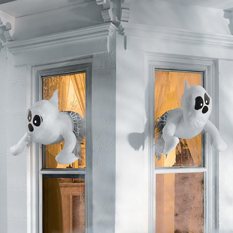 Украшение для окна на Хэллоуин, украшение для окна в виде привидения на Хэллоуин, уличное украшение для окна и стен
