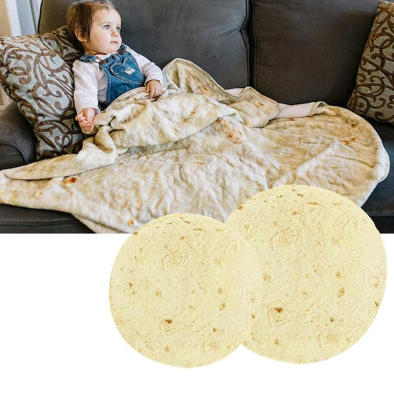 Creativo panqueques manta redonda espesa alfombra bebé Swaddle suave colcha confortable juego estera divertida manta Pancake mexicano