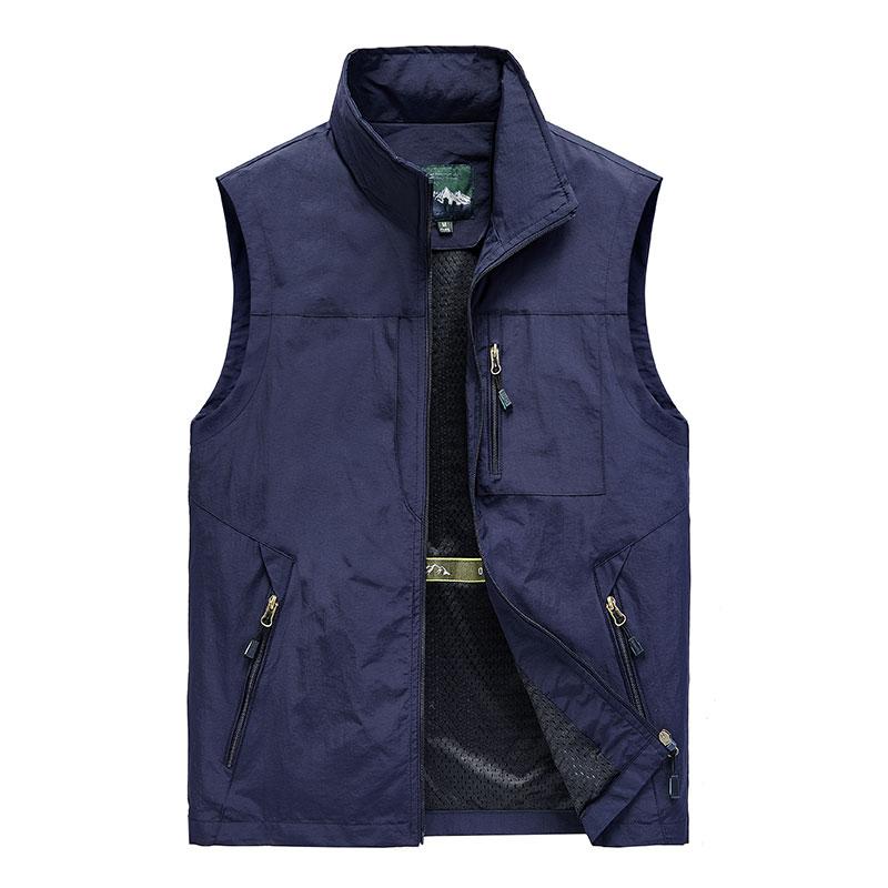Men Summer Quick-drying Vest Men's Multi-Pocket Tooling  Sleeveless Jacket Outdoor Fishing Photography Waistcoat Work Vest 5XL