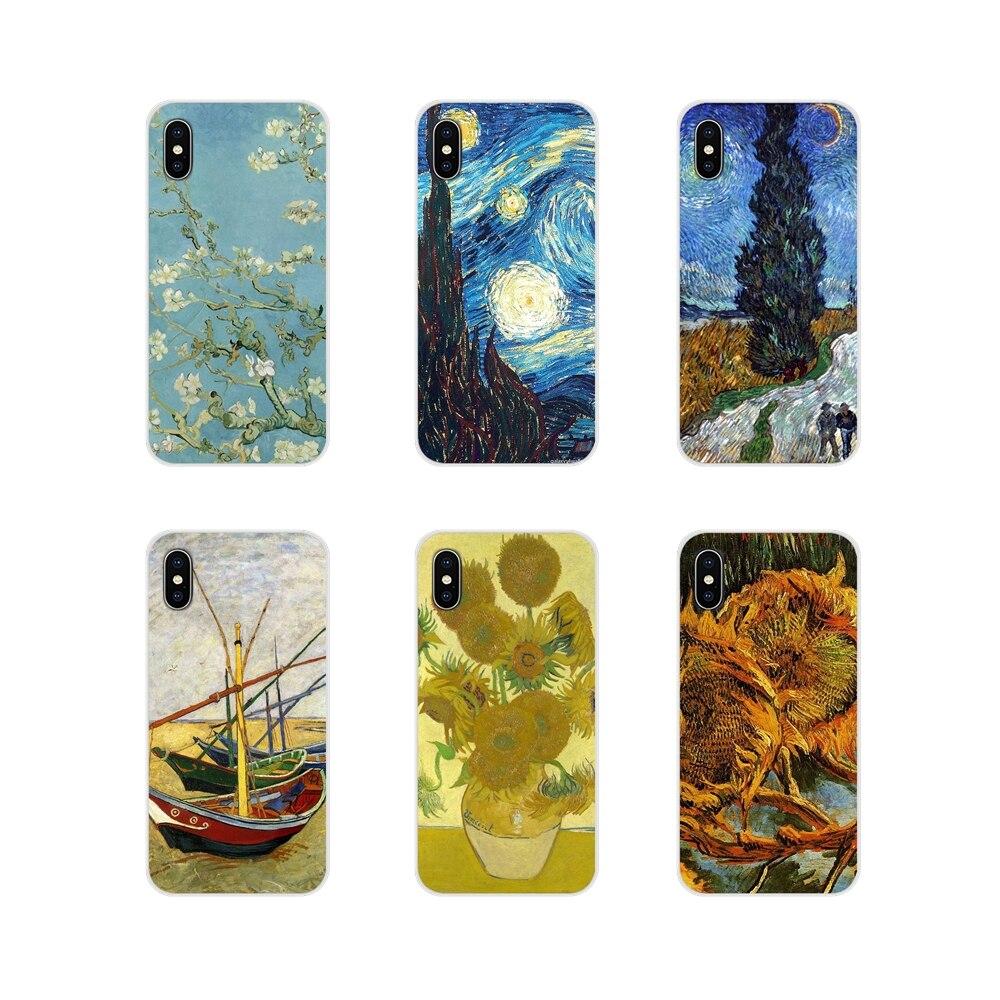 Para Xiaomi mi 4 mi 5 mi 5S mi 6 mi A1 A2 A3 5X 6X 8 CC 9 T Lite SE Pro fundas de teléfono de silicona Van Gogh cielo estrellado y girasol de lujo
