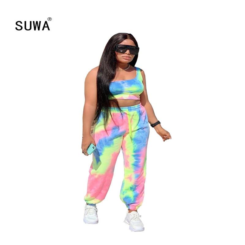 Entrenamiento Activewear tie dye print mujeres 2 piezas trajes sin mangas tank tops + alta cintura joggers Pantalones casual conjunto a juego
