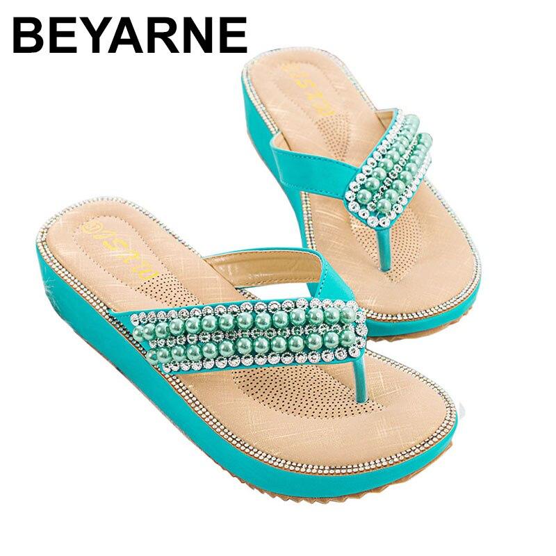 Zapatillas BEYARNE de verano para mujer, tangas a la moda, sandalias para mujer, zapatos de plataforma para mujer, sandalia femenina de playa con perlas