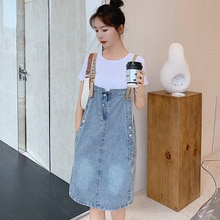 European Station Cotton Casual Denim Brace Dress Women's Clothing 2021 Summer New Youthful-Looking T