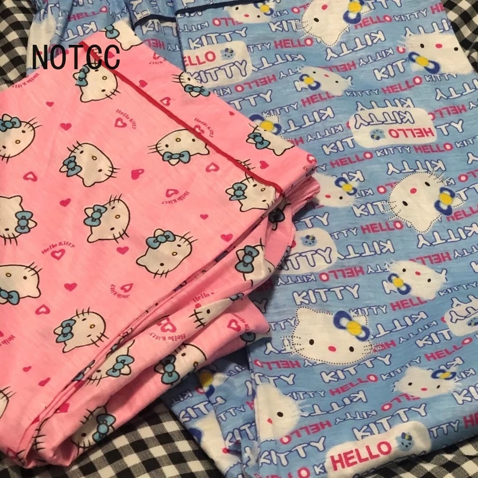 NOTCC Kitty Sleep Bottoms Women Lounge Wear Y2k Loose Cute Cartoon Pajama Pants