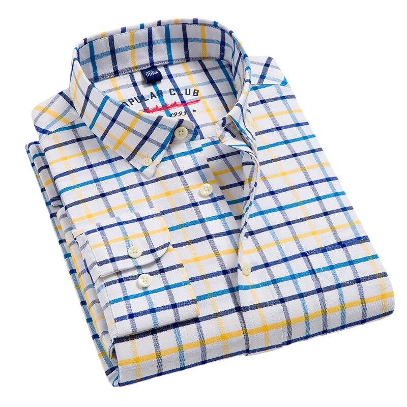 Aoliwen бренд 2020 Осенняя Повседневная рубашка с длинными рукавами 100% хлопок мягкие удобные Slim Fit стилей бренд Мужские часы премиум класса в фла...