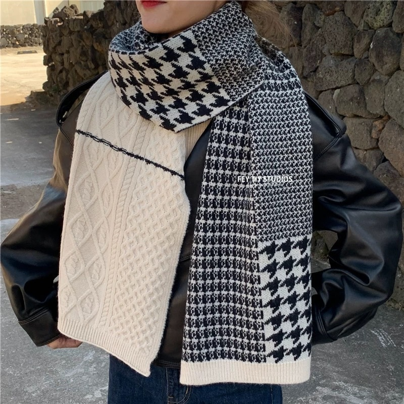 Fashion street lovers style thousands of bird case imitation cashmere women's color stitching warm scarf winter knitted scarf