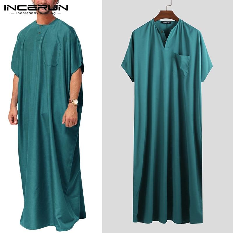 INCERUN Jubba Thobe Men Islamic Arabic Kaftan Solid Short Sleeve Loose Retro Robes Abaya Middle East Muslim Clothing Plus Size 7