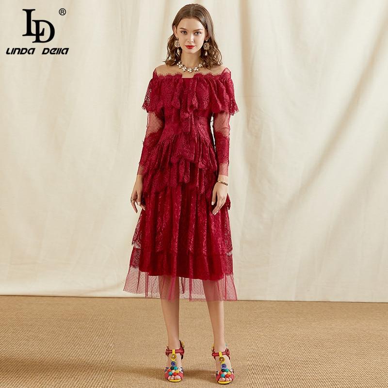 LD LINDA DELLA automne créateur de mode rouge dentelle robe femmes à manches longues à volants à plusieurs niveaux maille Patchwork élégant robes de soirée 2020