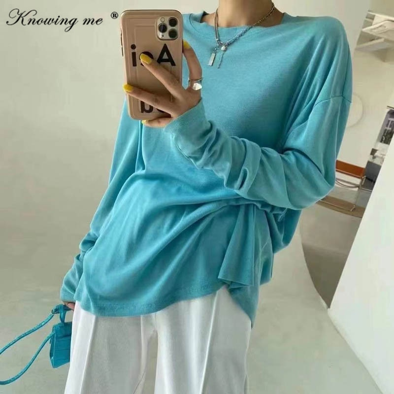 2021 Summer Candy color Tshirt donna casual o collo pullover manica lunga elegante primavera oversize top streetwear Drop shipping