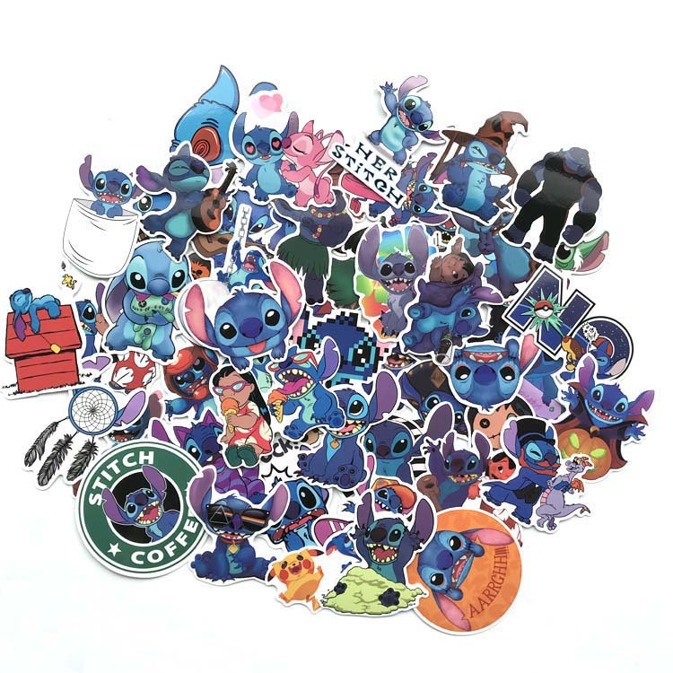 52 Uds. Clásicos Stich dibujos animados lindos para equipaje bolsos teléfono Notebook motocicleta impermeable coche pegatina