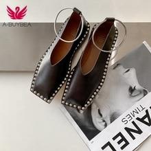 2020 hot sale new Genuine Leather Square Toe low Pums 22-25 cm length Slip-on women shoes fashion Rivet Metal decoration shoes