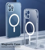 camera lens protection transparent magnetic case for iphone 12 pro max mini 11 xs xr magsafing wireless charging clear cover
