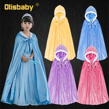 Winter Girls Velvet Princess Long Cloak Fancy Fairy Cinderella Belle Aurora Rapunzel Kids Floor Leng