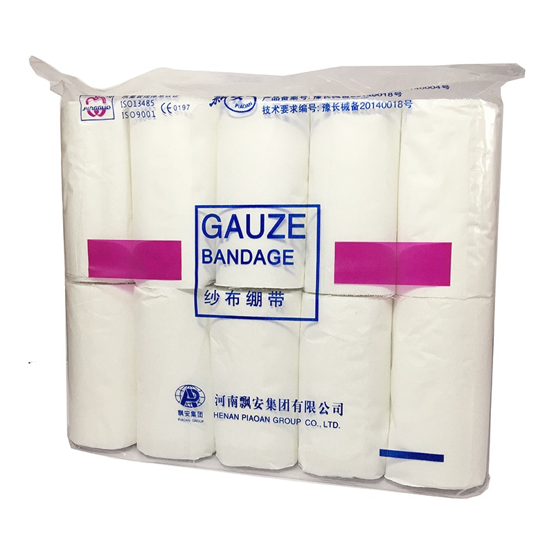 10 rolls 8*600cm Gauze Bandage First Aid Non Toxic Pain Relief Elastic Durable Health Care Mesh Disposable Injury Protective