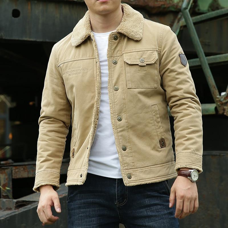 Men Bomber Jacket New Men's Winter Coat Plus Velvet Thickening Green Middle-aged Casual Jacket Short Tooling Loose Jacket Men