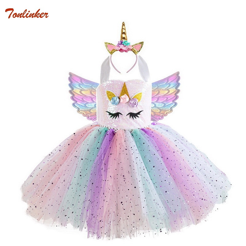 Nuevos disfraces de unicornio para niñas, vestido tutú de unicornio con alas de diadema doradas, vestido de fiesta de critmas de princesa para niñas de Halloween