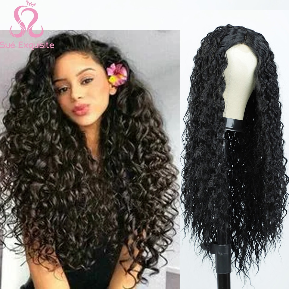 SUe EXQUISITE Synthetic Long Curly Wigs for Black Women Black Cosplay Wig Synthetic Lace Front Wig Red Wig Wigs for Women