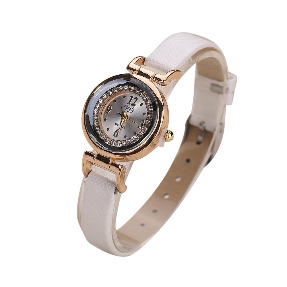 Frauen Feine Leder Band Diamant Analog Quarz Bewegung Armbanduhr Quarz Analog Wasserdicht Damen Kleid Armbanduhr relogio #10