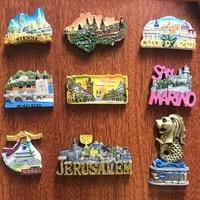 resin fridge magnet thailand berlin prague vienna monaco travel souvenir refrigerator magnetic sticker craft home decor