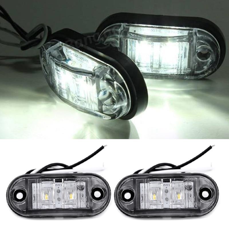 2 шт./компл., Автомобильные светодиодные сигналы поворота, габаритные огни, 12 В, 24 В, белые лампы для прицепа, грузовика
