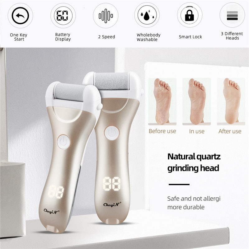CkeyiN LCD Display Foot Dead Skin Remover USB Rechargeable Feet Grinder Heel File Grinding Exfoliator Pedicure Callus Remover