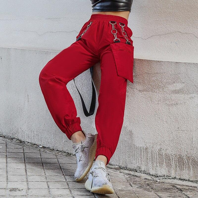 JIEZuoFang frauen fracht hohe taille baggy hosen metall tasche streetwear lose lange hosen 2019 herbst winter dame casual kleidung