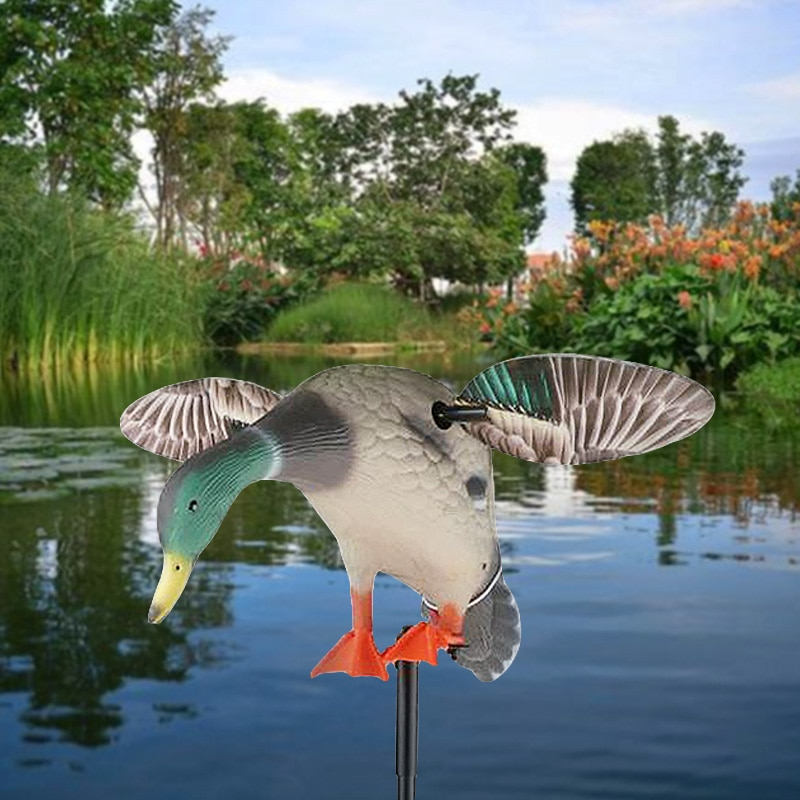 Electric Fly Duck Mallard Drake Decoy w/ Support Foot Hunting Duck Decoy Shooting Fishing Lure Garden Decor Lawn Ornaments hunt duck lovely simulation animal hunting decoy plastic duck garden ornaments sports entertainment