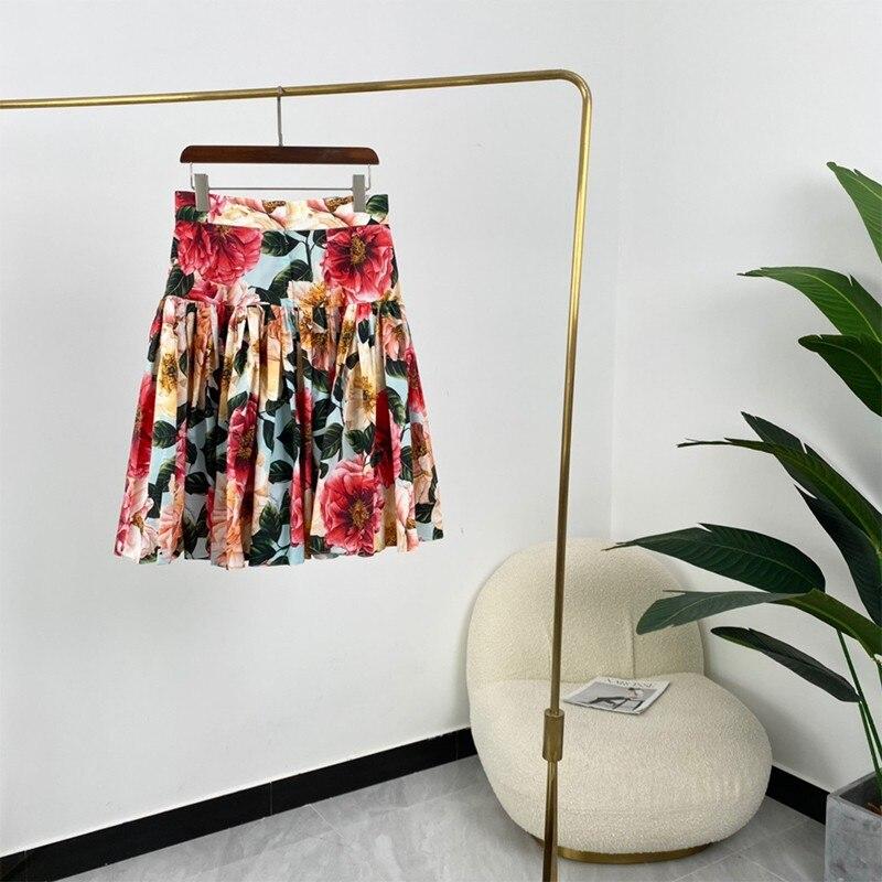 2021 Summer Women Elegant Vintage A-line Floral Print High Waist Knee Length Skirts Top Quality Easy Match