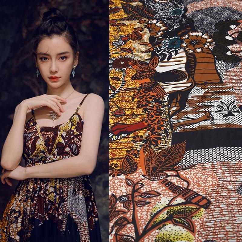 THE WOODS digital painting copy silk georgette fabric for dress ткань ткани tissu telas por metro tissus tela african stoffen
