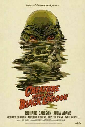 Criatura da lagoa negra filme de terror clássico tecido de seda cartaz da parede arte decoração adesivo brilhante