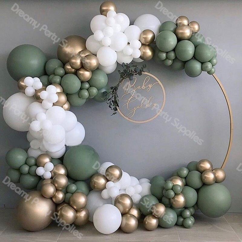137 قطعة بالون استحمام الطفل جارلاند قوس 12Ft ريترو الأخضر الذهب الأبيض اللاتكس بالونات الهواء حزمة ل حفلة عيد ميلاد ديكور لوازم