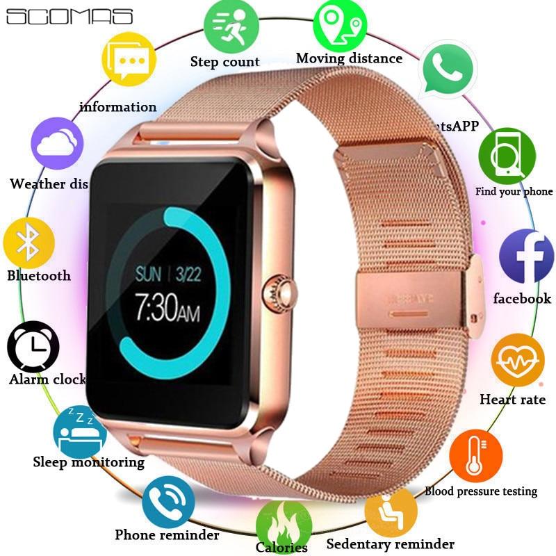 SCOMAS With Camera Bluetooth Connectivity Phone Smartwatch Sim Card Slot Push Message Facebook Whatsapp Twitter Smart Watch Z60