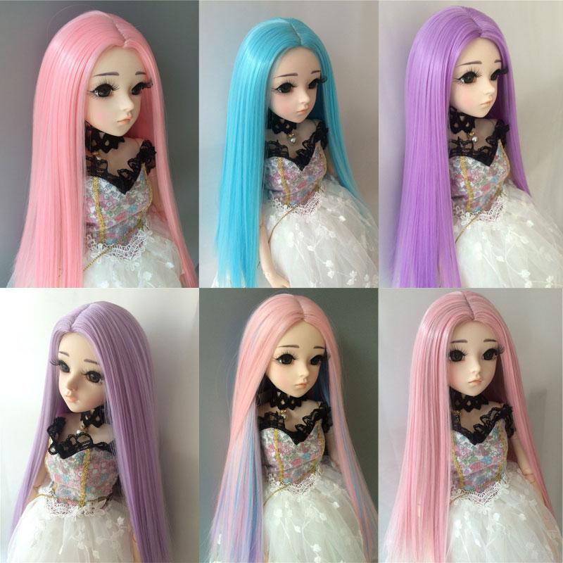 1/3 1/4 1/6 1/8 muñeca bjd sd pelo largo pelo liso de fibra de alta temperatura muñeca azul peluca multicolor accesorios para muñecas