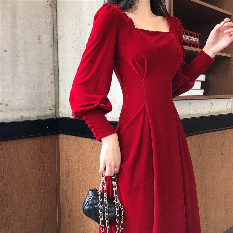 Vestido de primavera para mujer 2020 vestido de terciopelo Vintage vestido de fiesta Sexy Vestidos bella hadid