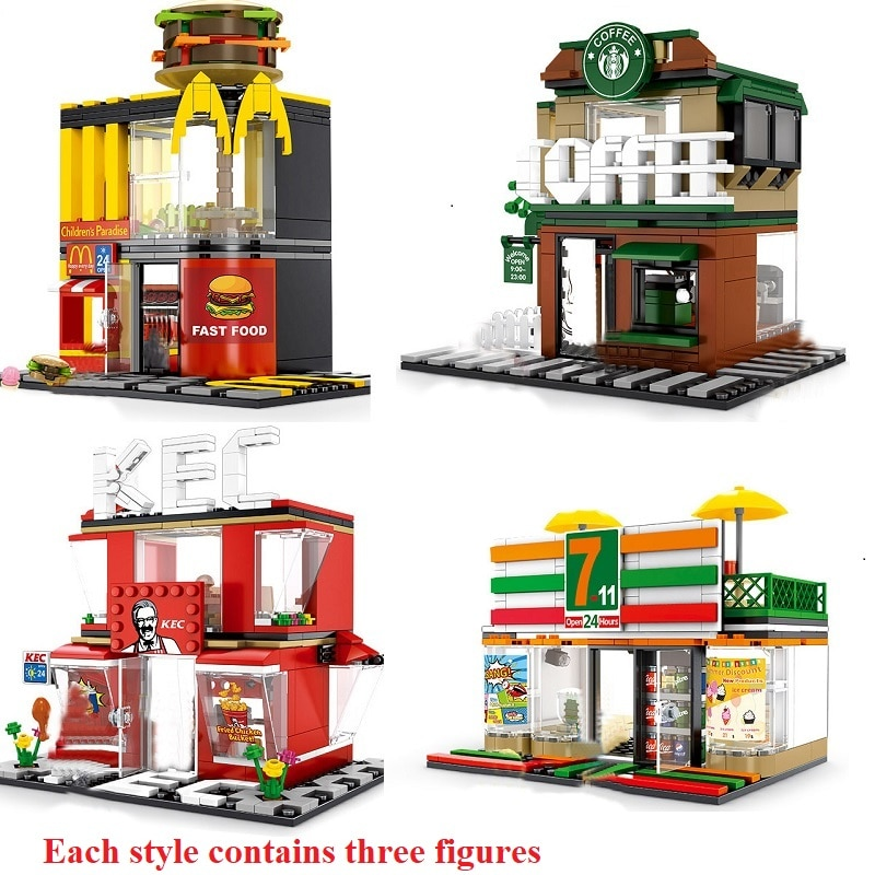 280+ PCS Mini City Street View Building Blocks Coffee Shop Hamburger Store City Diy Bricks Toys For Children Christmas Gifts 280 pcs mini city street view building blocks coffee shop hamburger store city diy bricks toys for children christmas gifts