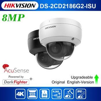 Original English Hikvision DS-2CD2186G2-ISU 8Mp CCTV POE IR 4K Acusense Fixed Dome Network Camera