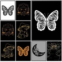 vintage butterfly mushroom nordic poster moon wall art canvas painting posters wall pictures for living room home decor unframed