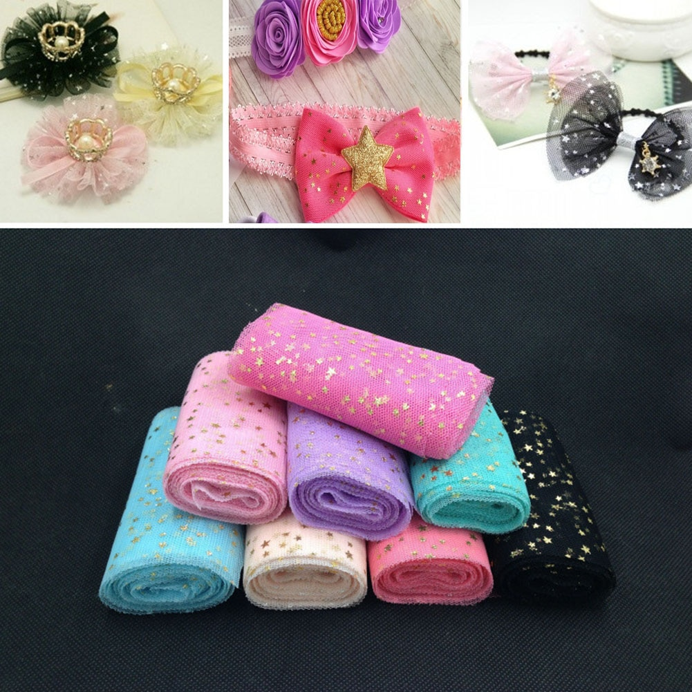 DIY boda cumpleaños decoración estrella tul confeti brillante tul hornear pastel Topper Tutu Pom Bow suave Squine tul