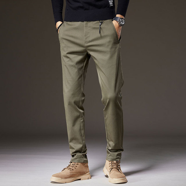 Winter New Work Pants Men's Business Casual Pants Korean Version of The Slim-fitting Tooling Trousers Trendy Calf Trousers 2