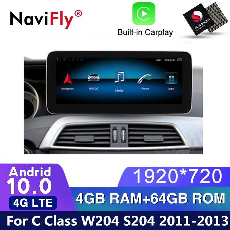 Hd1920 * 720 4gb + 64gb android 10, gps, navegação, rádio, player para mercedes benz c classe w204 s204 2011 2012 2013 ntg4.5 wifi bt