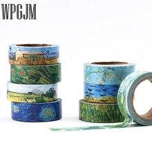Conjunto de cintas Washi Van Gogh estilo 15mm * 7m cuenta mano cinta adhesiva diario DIY etiqueta decorativa cinta adhesiva