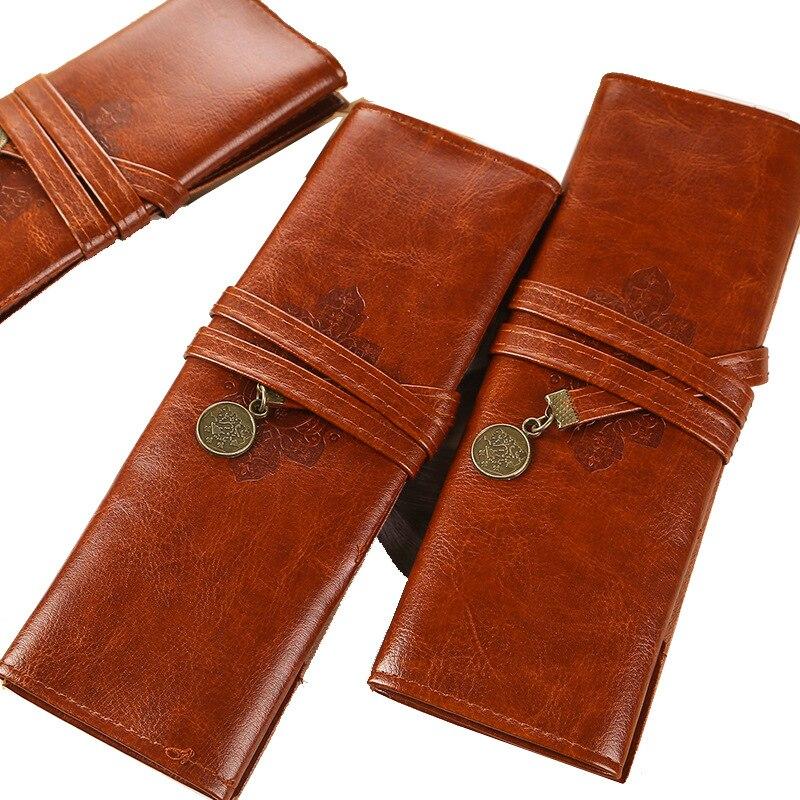 Restaurar formas antigas caneta saco de viagem de couro do plutônio saco de cosméticos portátil recipiente papelaria lápis bens receber saco