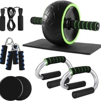 large ab roller set with push up rod sliding disc rope skipping hand exercise knee protector home gym exercise set ab machine