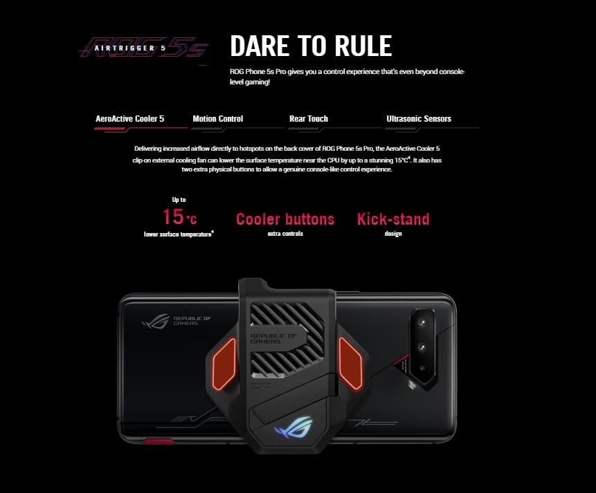 Original ASUS ROG Phone 5s Global Version Snapdragon888 16/18GB RAM 256/512GB ROM 6000mAh 65W NFC OTA Update Gaming Phone ROG5S