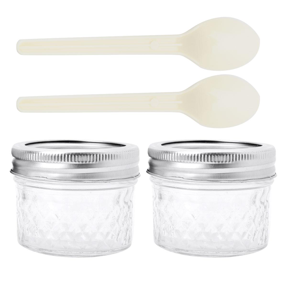 2 uds 4oz(120ml) tarros de masón de boca ancha con tapas bandas y cucharas para mermelada miel boda favores de la ducha favores de la comida del bebé tarro de masón
